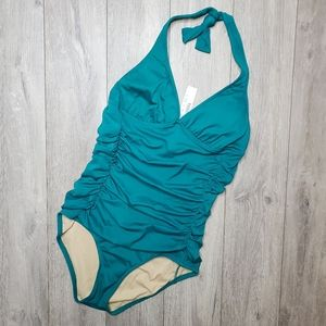 J. Crew ruched halter one piece swimsuit 12 teal